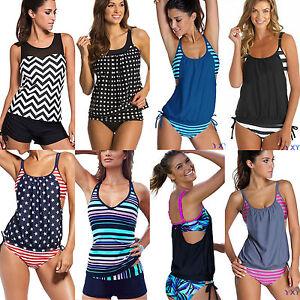 Plus-Size-Womens-Tankini-Bikini-Push-Up-Padded-Swimsuit-Swimwear-Beach-Bathing