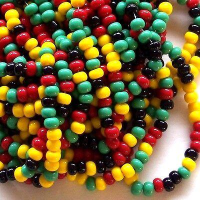 Jamaican Bead Mix Red Yellow Green Black * 6/0 Czech Seed Beads * Preciosa 4mm