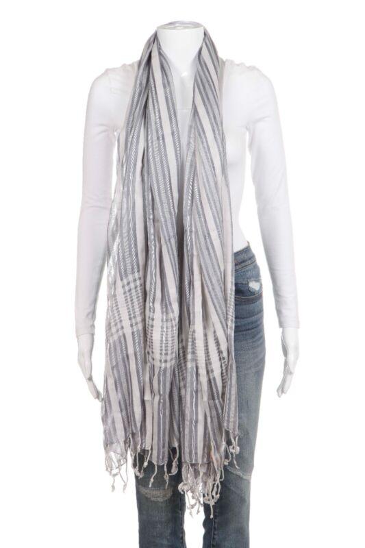 Baray Occidental Scarf Blue Gray Striped Fringe Cotton Silk Shawl Wrap