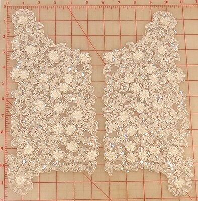 """Matching pair 2 white beaded sequins appliques layered flowers gimp outline 11"""""""