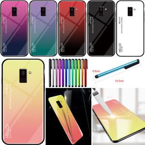 Pour-Samsung-Galaxy-S7-S8-S9-A6-A7-A8-en-verre-trempe-arriere-Ultra-Slim-Case-Cover
