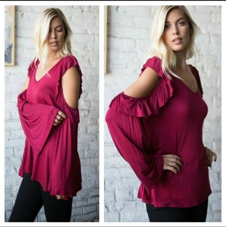Small Womens Cold Shoulder Oversized Tunic Top Red Shirt Long Sleeve USA MADE