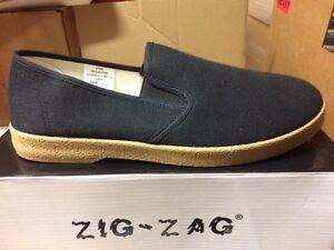 677b0c9801a NIB ZIG ZAG CANVAS SLIP-ON MEN SHOES BLACK WITH BEIGE SOLE SIZES 6.5 ...
