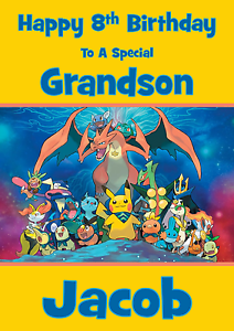Image Is Loading Pokemon Personalised A5 Birthday Card Son Daughter Brother