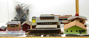Vintage-HO-Railroad-Balsa-Wood-MCM-Buildings-Lot-Bridges-Trestles-Car-Bodies