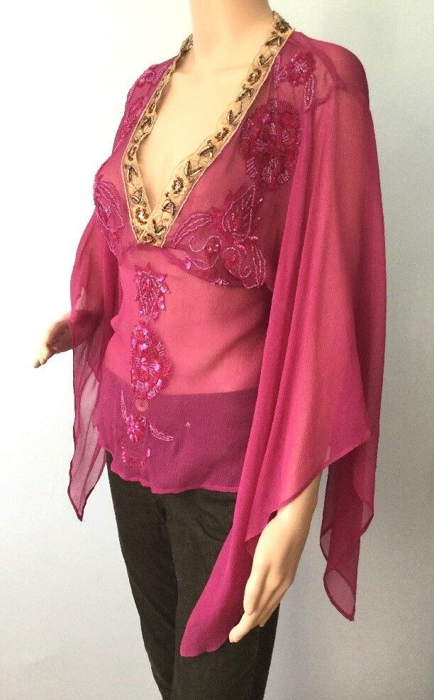 damen Single Silk Rosa Tunic Top Embroiderot Floral Sequins Bat WIng Designer 8