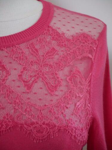 Fine Worn Size Pink Once Detail Lace Wool Red M Sweater Valentino pZqxOEwF