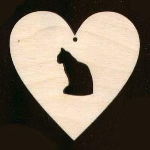"""Cat in Heart Shape 2/"""" Unfinished Craft Wood #756-2H"""