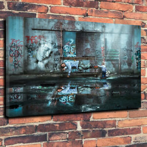 Stunning-Graffiti-Wall-Art-Banksy-Printed-Canvas-Picture-A1-30-034-x20-034-30mm-Frame