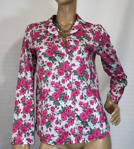 LINEN-LAWN-SIZE-10-FLORAL-ROSES-COTTON-SHIRT-AS-NEW