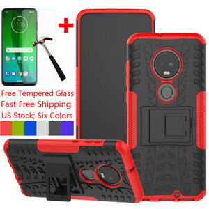 For-Motorola-Moto-G7-Power-Plus-Play-Supra-Case-With-Ring-Stand-Tempered-Glass