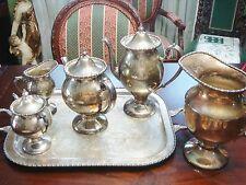 Lehman NY Silver on Copper teapot, coffee pot,sugar,creamer, & tray 5pcs[*]
