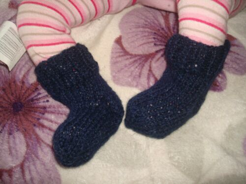 Hand Knitted Baby Socks 100/% pure laine 0-3 mois