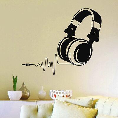 Vinyl Wall Decals DJ Headphones Order for jc0826 White color Z733