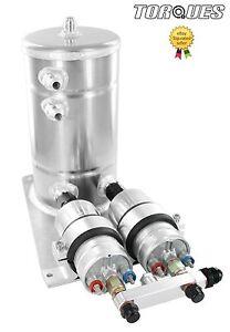 Twin-Bosch-044-Fuel-Pumps-Aluminium-Surge-Swirl-Tank-Assembly-AN8-AN10-SILVER