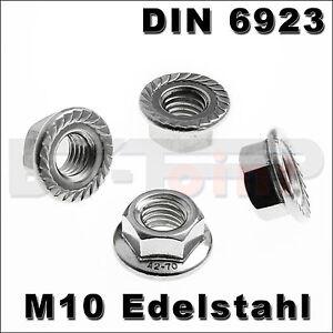Edelstahl-Sechskantmutter-Flansch-M10-DIN-6923-A2-Mutter-DIN6923-Flanschmutter