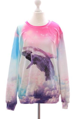 Ty-f1340 balena PASTEL GOTH rinfrescheremo nuvole Dolce Rosa Blu Felpa pullover HARAJUKU