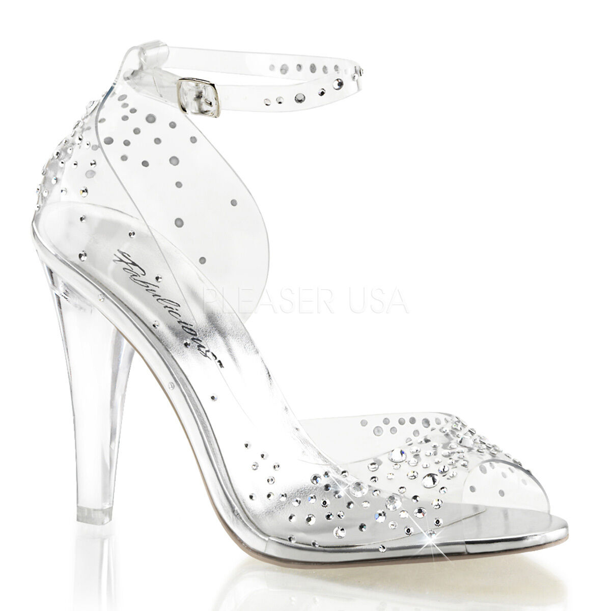 PLEASER Sexy 4 1 2  Heels Clear Peep Toe Pumps Prom Pageant chaussures w  Rhinestones