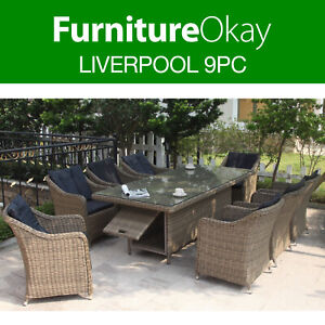 Liverpool 9pc Wicker Outdoor Dining Setting Patio Set Table Chairs Furniture Ebay