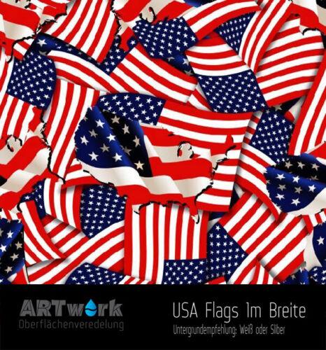 Wassertransferdruck Folie WTD Hydrographic USA Flags 1m x 1m Breite
