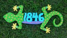 Custom WOODEN GECKO HOUSE NUMBER Address Sign HAND MADE Painted Carved Wood