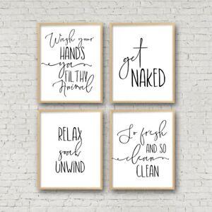 Funny Bathroom Sign Canvas Poster Wall Art Prints Toilet Signs Bathroom Decor Ebay