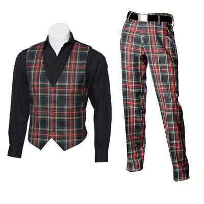 Genial New Scottish Tartan Trews And Waistcoat Bundle - Black Stewart - Choose Size Weich Und Rutschhemmend