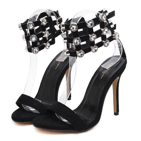 Sandalei eleganti tacco stiletto 11 cm nero strass pelle simil pelle strass eleganti 9828 daa7b6
