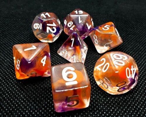 dice4friends RPG Würfel Set 7 Poly DND Rollenspiel Candy Passionfruit bunt