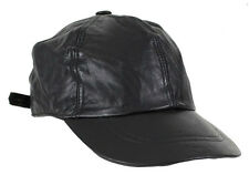 Genuine Leather Baseball Cap Adjustable Black Motorcycle Biker Cap Men Women New