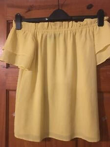 Dorothy Perkins Yellow Frill Sleeve Chiffon Bardot Neckline Top/Blouse Size 6