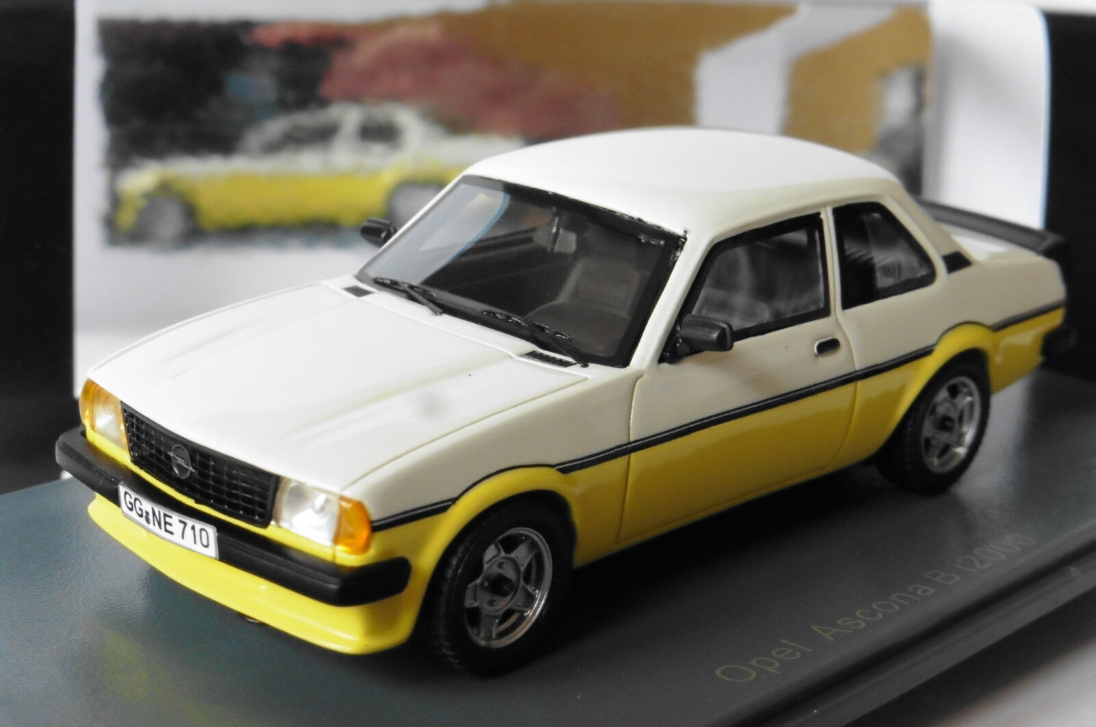 OPEL ASCONA 2.0 S R I2000 YELLOW WHITE 1980 NEO 43710 1 43 LIMITED 300 PCS yellow