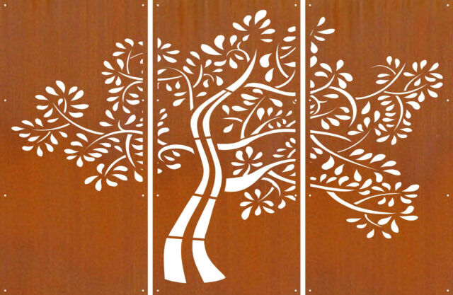 DECORATIVE METAL SCREENS CORTEN LASER CUT GARDEN SCREEN - D58 3 Screen Set 1.6mm