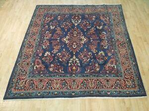 navy blue pink 7 39 x 8 39 persian rug handmade fine kork wool sarouk iranian rug ebay. Black Bedroom Furniture Sets. Home Design Ideas