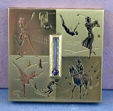 Vintage ART DECO ELGIN AMERICAN MIRRORED COMPACT BOX W/SPORTS THERMOMETER