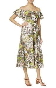 Grace-Elements-Womens-L-Large-Dress-Green-Ivory-Ruffle-Off-Shoulder-Casual-B12