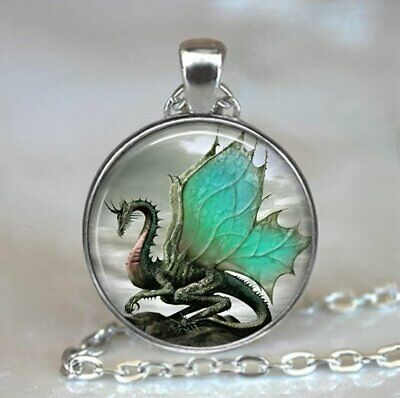 100% Quality Jade-winged Dragon Necklace silver Dragon Jewelry Dragon Jewellery Dragon Wing