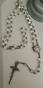 Vintage-Rosary-Silver-Tone-Chain-w-Sparkling-Crystal-Beads-17-034-Made-in-Italy