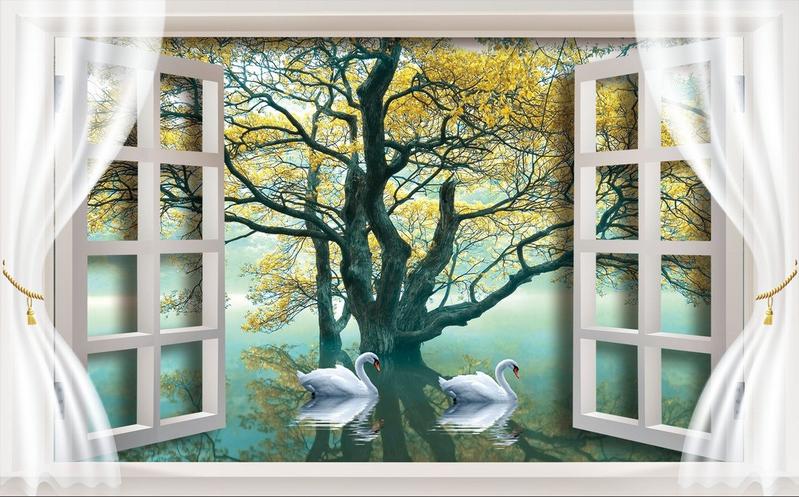 3D 3D 3D Schwan-Baum-Fenster 965 Tapete Wandgemälde Tapete Tapeten Bild Familie DE | Clever und praktisch  6b0ebd
