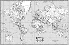 Buy Black And White World Map Unique Design Poster Print Traveler