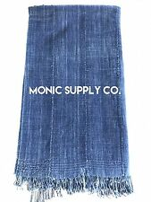 *EXTRA LONG* Boho Indigo African Mud Cloth Throw Blanket / Tapestry (No. 69)