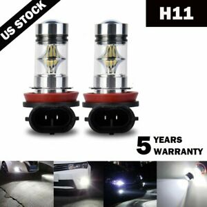 2x-H11-H8-H16-100W-6000k-Super-White-Fog-Lights-2323-LED-Driving-Bulbs-DRL