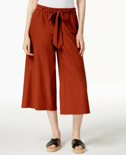 Eileen Fisher Deep Pekoe SIGNATURE WASHABLE STRETCH CREPE Wide Cropped Pants