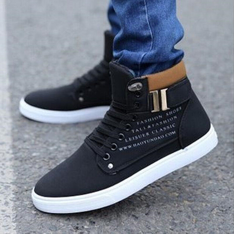 0ba54e378e07d Fashion Mens Casual High Top Shoes Leather Shoes Canvas SNEAKERS Ms8 ...