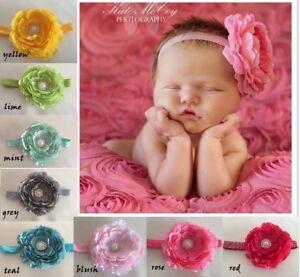 NEW-Peony-flower-baby-girl-headband-photo-prop-christening-Newborn-3-years