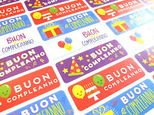Détails Sur Buon Compleanno Italien Joyeux Anniversaire étiquettes Stickers Pour Cartes