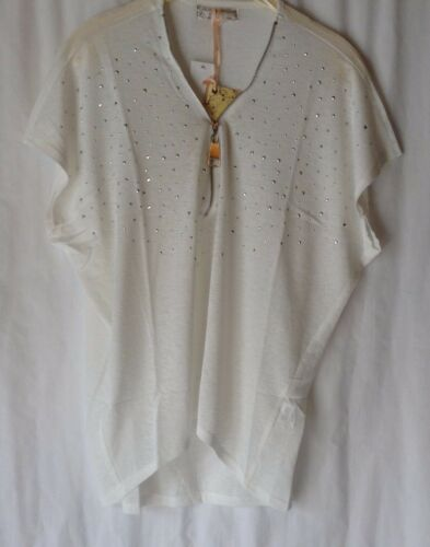 NEW LADIES SUMMER SHORT BATWING SLEEVE DIPPED HEM EMBELLISHED ZIP NECKLINE TOP