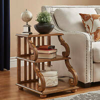 Rustic End Table Wood Scroll Antique Oak Finish Sofa Side Display Accent Living