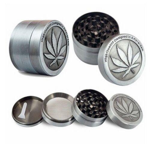 4Piece Tobacco Herb Spice Grinder Herbal Alloy Smoke Metal Chromium Crusher