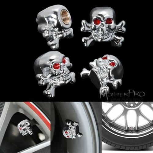 4 of Skull Car Bike Motorcycle Motor Tire Tyre Valve Stem Dust Cap Cover Set